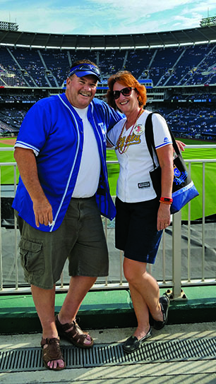 Grooms and her husband, Dennis, attend a Kansas City Royals game together. Photo courtesy of Deb Grooms