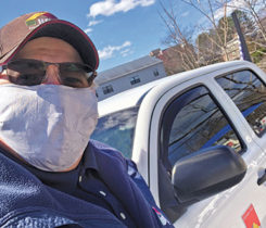 A Hocon Gas employee dons a mask during the coronavirus pandemic. Photo courtesy of Hocon Gas