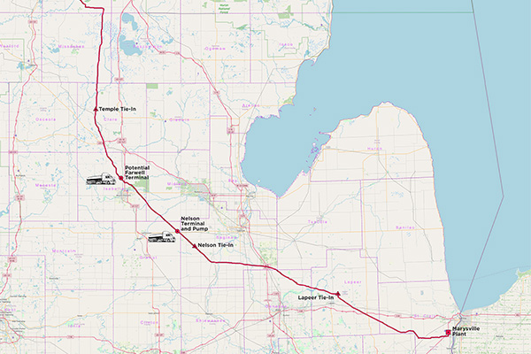 Michigan Express Pipeline map courtesy of Silver Wolf Midstream