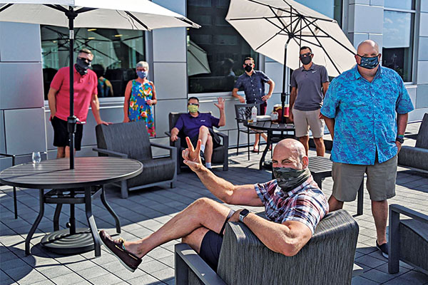 The Cargas executive team atop its terrace earlier this year. The software company had been in its new building in Lancaster, Pennsylvania, for about five months before transitioning to working remotely. Photo courtesy of Cargas