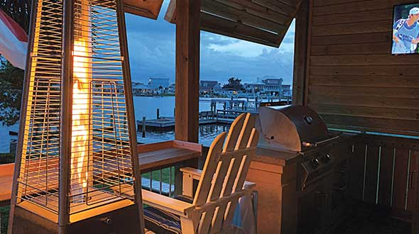 Mauck spent much of his downtime in 2020 building a propane-powered outdoor living area on his porch. Photo courtesy of Armistead Mauck