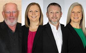 Headshots, from left: Gardner, Angi Harris, Paul Harris and Kedzierzawski