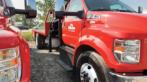 Blossman Gas utilizes this Ford F-750 with a 6.8-liter V-10 engine. The company has 396 autogas vehicles in service across its fleet. (Photo courtesy of Blossman Gas)