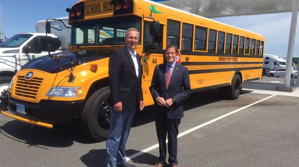 Sen. Richard Blumenthal, right, stands with Steve Whaley of PERC at the Pride Travel Center opening. Photo courtesy of Propane Education & Research Council