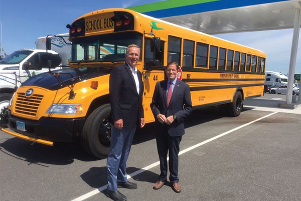 Sen. Richard Blumenthal, right, stands with Steve Whaley of PERC at the Pride Travel Center opening.