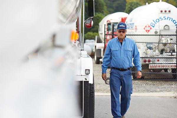 A Blossman Gas transport driver delivers renewable propane. Photo courtesy of Blossman Gas